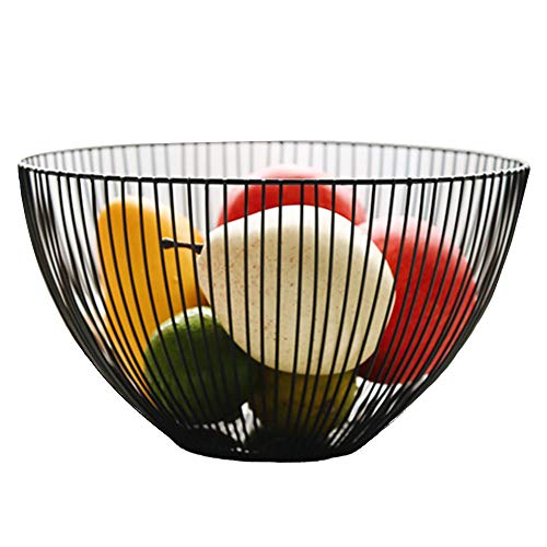 (Outdoorfly Wire Fruit Basket, Large Round Metal Fruit Dish Bowl Vegetable, Egg, Bread Storage Container Holder Stand for Kitchen and Dining Room Countertops, Tables, Buffets, Cabinet and Pantry(Black))