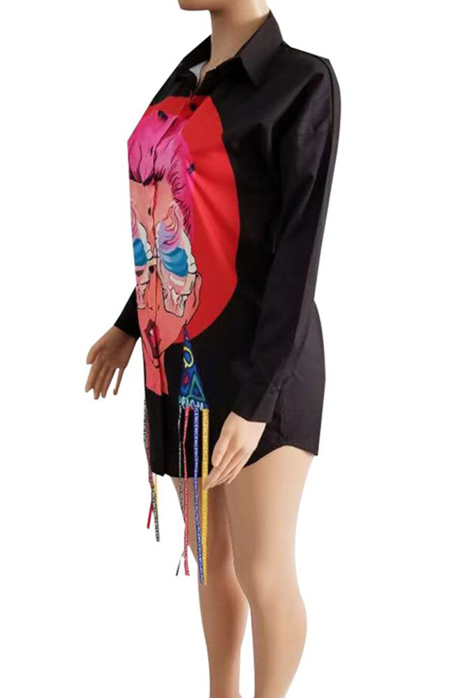 Dreamparis Womens Sexy Button Down Blouse Long Sleeve Print Tassel Shirt Dress Tunic Tops Black M
