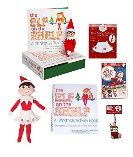 Ultimate Elf on the Shelf Gift Set - Girl Elf Edition with North Pole Blue Eyed Girl Elf-themed Storybook Box set, 19