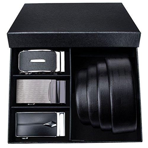 Designer Buckle (Mens Belt Black with Ratchet Buckle Sliding Black Designer Belts for Men Genuine Leather Adjustable)