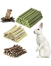 Hamster Chew Toys, Natural Apple Sticks Timothy Hay Sticks Sweet Bamboo 3 Types of Combined Chew Toys, for Rabbit Chinchilla Guinea Pigs Squirrel Hamster (100g)