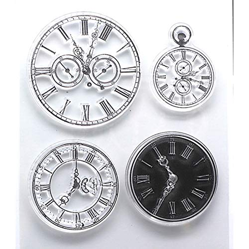 (GIMITSUI Store Watch Time Clock Faces Ink Silicone Stamp Seal Steampunk Card Making Scrapbooking Decor Album Photo DIY Diary Paper Craft Art)