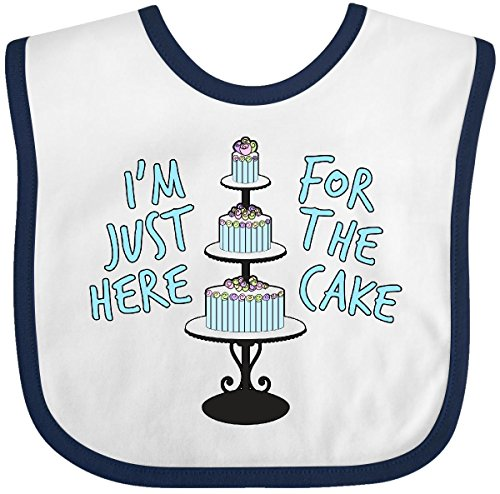 Inktastic - I'm Just Here for the Cake Funny Wedding Baby Bib White/Navy 28eca