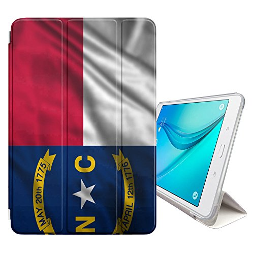 (FJCases North Carolina The Tar Heel State Waving Flag Smart Cover Stand + Back Case with Auto Sleep/Wake Function for Samsung Galaxy Tab A - 8