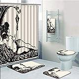 Bathroom 5 Piece Set shower curtain 3d print,Vintage,Ancient Roman Woman Looking at the Mirror Classic Beauty Feminine Sketch Print Decorative,Cream Black,Bath Mat,Bathroom Carpet Rug,Non-Slip,Bath To