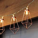 Patty Both 5Ft Rose Gold Geometric Boho LED Bedroom Fairy Lights Battery Powered Metal Cage String Lights Paris Lamp