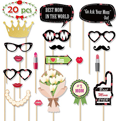 Mothers Day Photo Booth Props  Best Mom Ever Party Decorations Gifts Fun Photography Posing Kit Supplies DIY Crafts Favors for Birthday Wedding Holiday Dress up Accessories Photoshoot Ideas