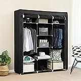 SONGMICS Portable Clothes Closet Non-woven Fabric Wardrobe Double Rod Storage Organizer Black 59-Inch URYG12H
