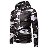 kaifongfu Men's Autumn Camouflage Long Sleeve Pullover Tops Hoodie (White,L)