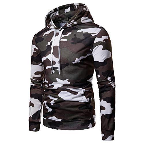 - NRUTUP Sweatshirt Zip, Men's Long Sleeve Camo Coat Top Pullover Sweatshirt Hoodie.(White,S)
