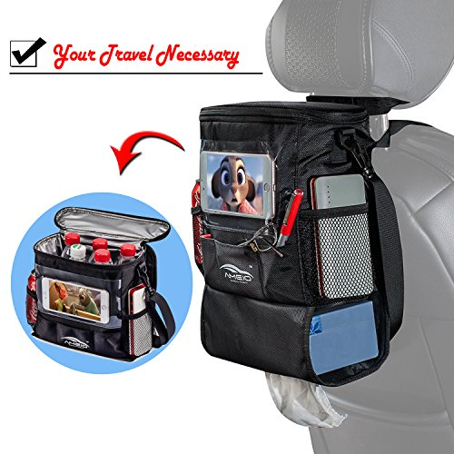 AMEIQ Seat Back Organizer for Car, Cooler with Phone iPad and Tissue Holder, Backseat Watertight Insulated Lunch Bag, Travel Picnic Storage Container (Ordinary-Oval)