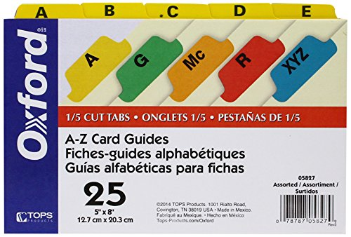 "Oxford Index Card Guides with Laminated Tabs, Alphabetical, A-Z,  Assorted Colors, 5"" x 8"" Size,25 Guides per Set (5827)"