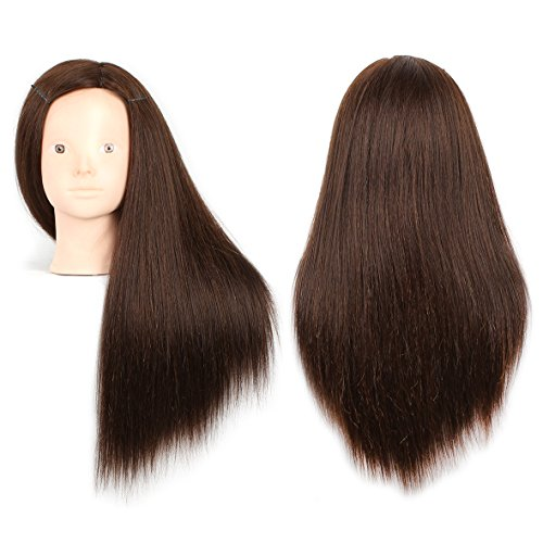 20 Inch Human Hair Training Practice Head Styling Dye Cutting Mannequin Manikin Head with Free Clamp Holder Brown Hair Makeup Practice head