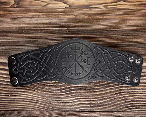 Black Leather Bracelet for men women - Mens Leather Wristband - Punk Viking Bracelets - Viking Compass Genuine Leather Bracelet - Size XL (Best Female Punk Bands)