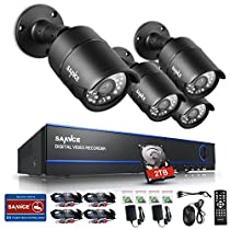 SANNCE 4 Channel HD 1080P DVR Home Security System with 2 TB Hard Drive and (4) 2.0 MP Weatherproof Outdoor/Indoor Bullet Surveillance Cameras with IR Night Vision LEDs