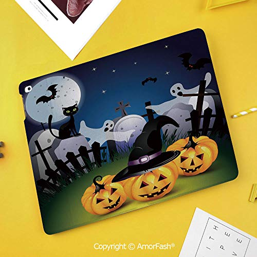 Slim Case for Samsung Galaxy Tab S4 T830 T835 SM-T837 10.5 Protective,Halloween,Funny Cartoon Design with Pumpkins Witches Hat Graveyard Full Moon Cat Decorative,Multicolor ()