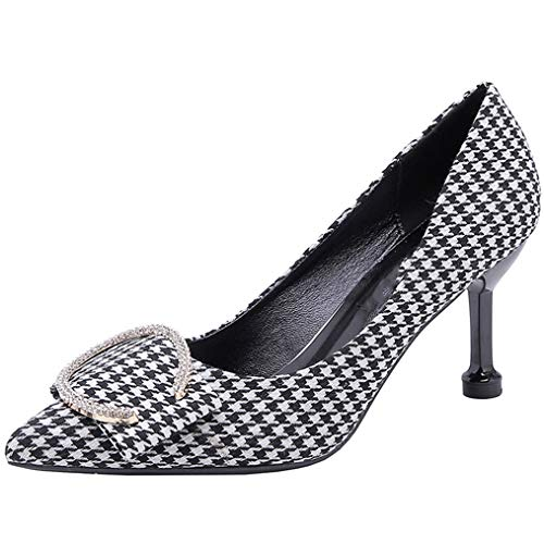 pqrs542 Women's Pumps Pointed Shallow Mouth Stiletto Single Shoes Houndstooth Fashion Rhinestone Buckle High ()