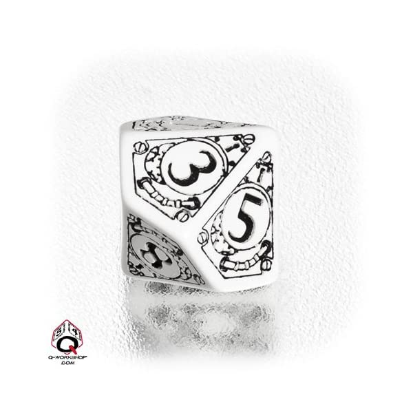 1 (One) Single d10 - Q-Workshop: Carved STEAMPUNK Ten Sided Dice / Die (White / Black) 3