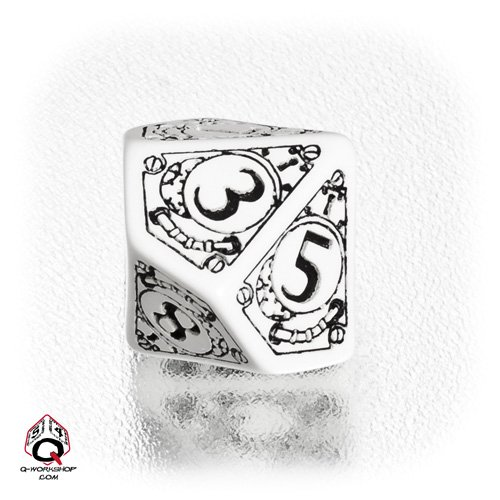 1 (One) Single d10 – Q-Workshop: Carved STEAMPUNK Ten Sided Dice / Die (White / Black)