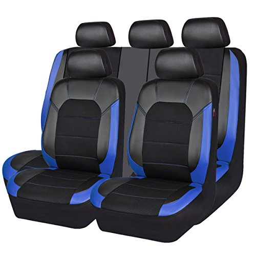 CAR PASS Leather and Mesh Universal Fit Car Seat Covers, for Sedans, Trunkcs,Suvs,Airbag Compatible,Inside Zipper Design and Opening Holes for Headrest (11PC, Black and Blue)