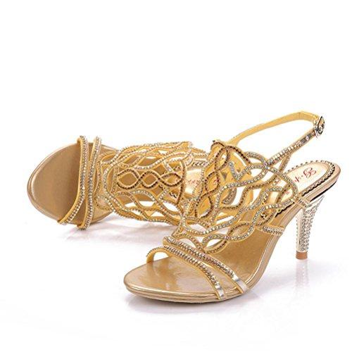37 Chaussures Paillettes Gold Boucle Peu Perlés Talons Fines Xie Femmes À Sandales Ajouré Bouche Strass Hauts Profonde xwpHpaR
