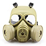 SHARPTECK Skull Anti Fog Full Face Mask with Air Fan UV Protection Goggles For Airsoft Paintball BB Gun War Game Cosplay Party Mud