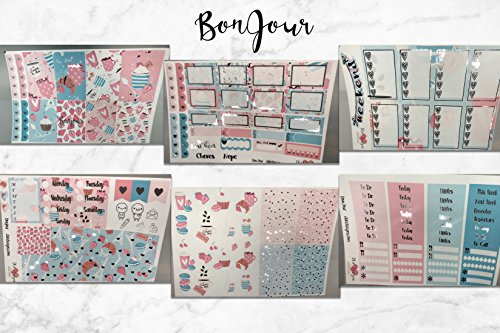 BonJour, Foil Planner Sticker Kit 6 sheets. Erin Condren Life Planner or Happy Planner Create 365 sizes available. Kiss cut, just peel and stick.