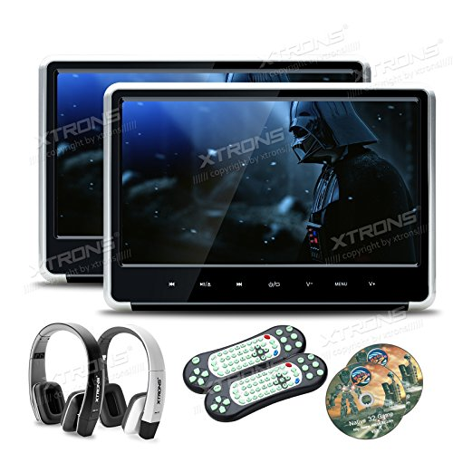 XTRONS Silver 2X 11.6 Inch Pair HD Digital Touch Panel Car Auto Headrest Active DVD Player Kid Games Built-in HDMI Port New Version Headphones Included(Black&White)
