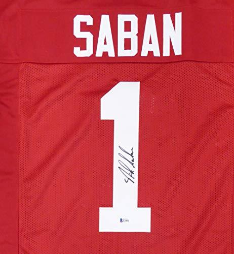 185171ef95f Alabama Crimson Tide Nick Saban Autographed Red Jersey Beckett BAS Stock  #145846