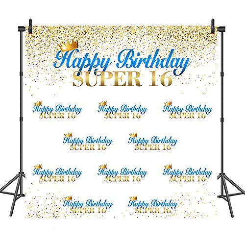 COMOPHOTO Super 16th Birthday Photography Backdrops Gold Step and Repeat Party Decoration Supplies 8x8ft Vinyl Background Photo Booth Studio Backdrop for Pictures