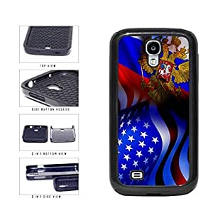 Russia and USA Mixed Flag 2-Piece Dual Layer Phone Case Back Cover Samsung Galaxy S4 I9500