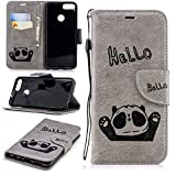 Misteem Cartoon Case Huawei P Smart, Cute Retro Panda Pattern Leather Cases Flip Shockproof Card Holder Bookstyle/Stand / Magnetic Wallet Cover Protector Huawei P Smart - Panda Grey