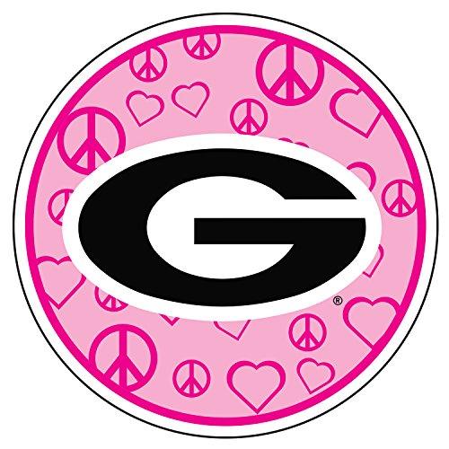 (Georgia Bulldogs Decal PINK PEACE HEART G DECAL 4
