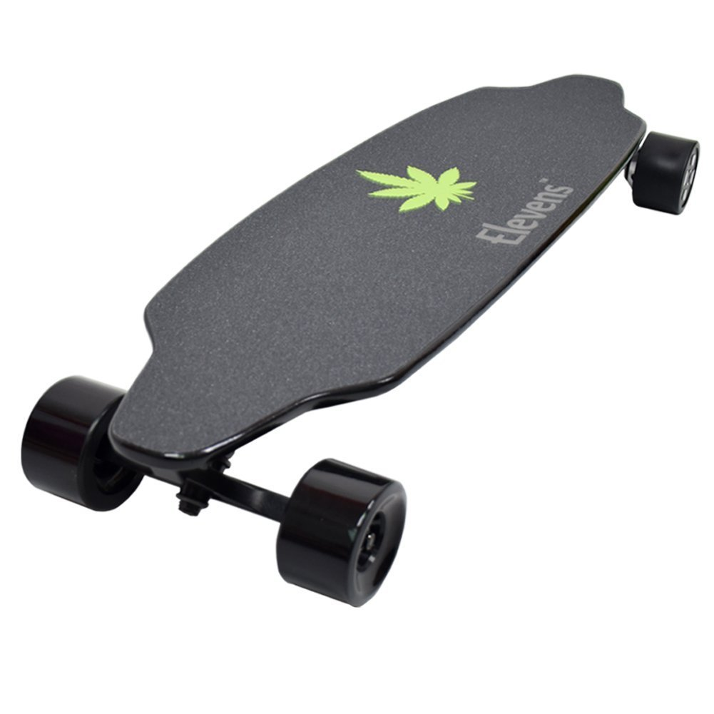 Winter Sale! Elevens Dual Hub Motorized Electric Skateboard, 38 inch Longboard Durable, Lightweight, Water-Resistant + Bluetooth Remote Control w/ Storage Bag (38 inches)