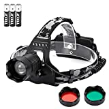 Ledeak Led headlamp Tactical Zoomable Work Light, Hunting Headlight Super Bright 3 Exchange Color Red Green Lens and White Light, Waterproof Adjustable Flashlight for Camping, Beekeeping, Outdoors