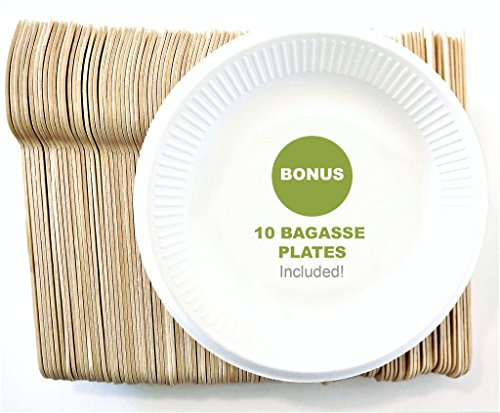 Rustic 210 Pack Disposable Wooden Cutlery Set 6.5