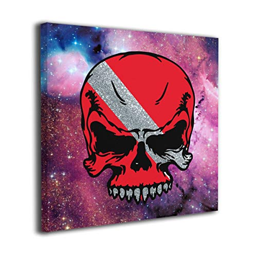 Arnold Glenn Scuba Diving Skull Flag Dive Diver.PNG Picture Paintings Canvas Wall Art Prints Modern Home Decoration Giclee Artwork-Wood Frame Gallery Stretched ()
