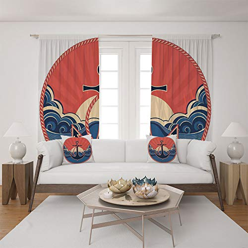 (2 Panel Set Satin Window Drapes Living Room Curtains and 2 Pillowcases,Robe and Sea Waves at Sunset Anchor Retro Sailing ,The perfect combination of curtains and pillows makes your living room warmer)