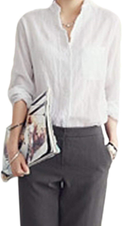 Donna Camicia Lino Manica Lunga Single Unico Tops Breasted Camicia Eleganti Vintage Moda Giovane Baggy Tempo Libero Monocromo Primaverile Autunno Bluse Camicetta Donne