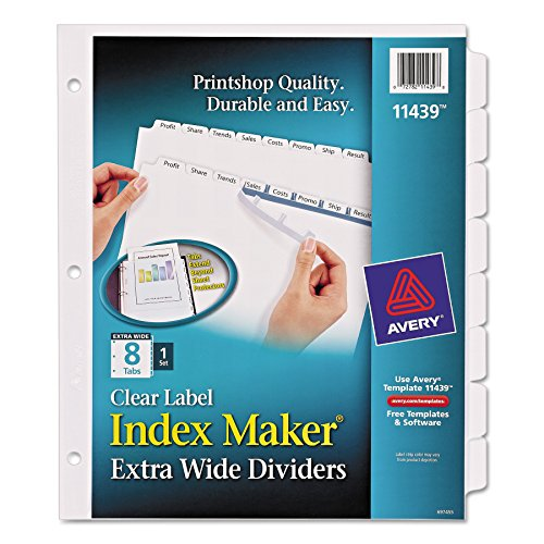 Avery Index Maker Extra-Wide Clear Label Dividers, White, 8-Tab Set (11439)
