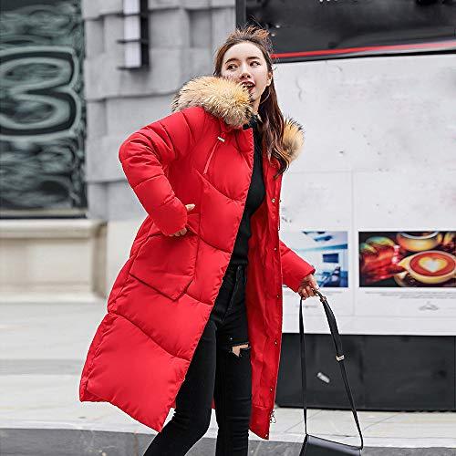 Fausse Rouge Capuche Hiver Chaud Femme À Fourrure Slim Veste Femmes Huhu833 Manteau Épais paXqT