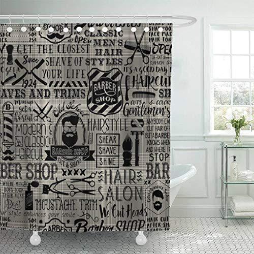 (Emvency Fabric Shower Curtain with Hooks Barbershop Barber with Tartan Vintage Badge Beard Cut Gentleman Graphic Grooming 60