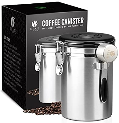 Bean Envy Airtight Coffee Canister - 16oz - Vacuum Sealed Cantilever Lid With Co2 Gas Release Wicovalve & Numerical Day/Month Tracker - Stainless Steel Air Tight Vault for Whole Beans/Ground Coffee