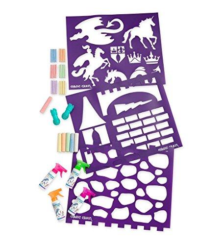 Magic Cabin ChalkScapes Enchanted Castle Sidewalk Chalk and Stencil Set - 4 Spray Chalks, 6 Jumbo Chalks, 3 Mega Stencils - Stencils Measure 18 W x 22 H