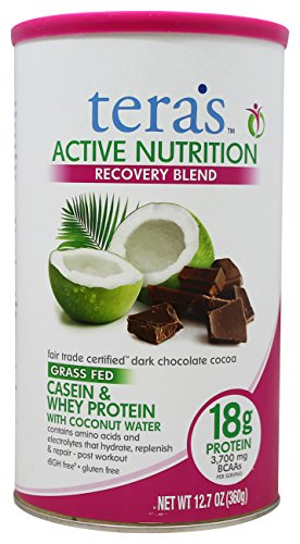 tera's: Active Nutrition Gluten-Free Certified Recovery Protein Blend, Fair Trade Certified Dark Chocolate, 12.7 ounces