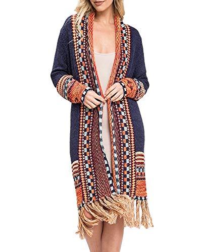 Misassy Womens Boho Open Front Long Cardigans Sweater Loose Long Sleeve Embroidery Tassels Kimono Duster Outwear (Medium, 2-Navy)