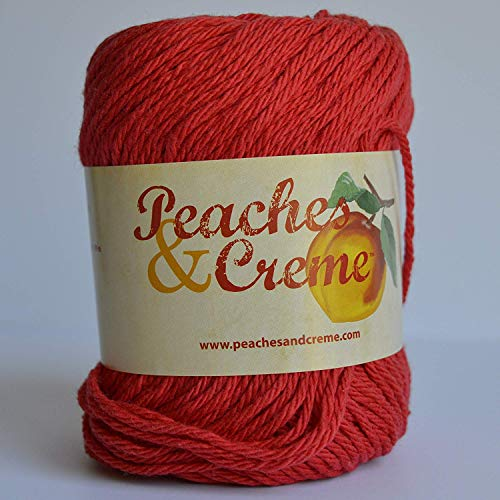 Cream Creme Cotton Yarn - Spinrite Peaches & Creme (Cream) Cotton Yarn Red 2.5 oz
