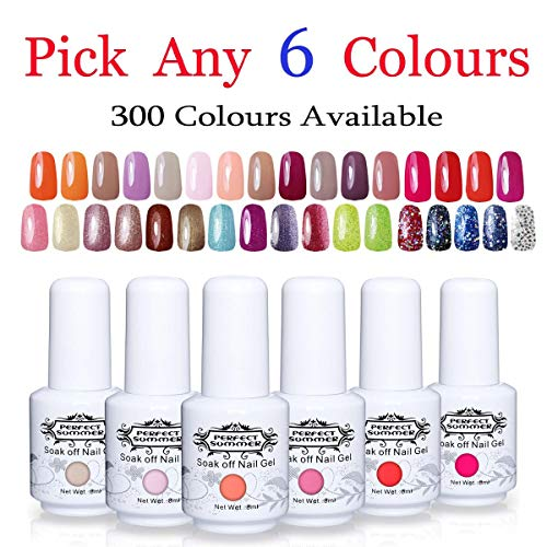 (Perfect Summer Gel Nail Polish Set - Pick Any 6PCS Trend Colours Gel Varnish UV LED Manicure Soak Off Nail Salon Kit 8ML 300 Colours Available)
