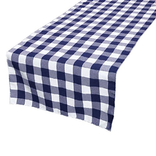 GFCC 100% Polyester,Christmas Holiday Party Decor Check Table Runner, 14 x 108 -Inch,Navy Blue & White