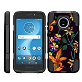 TurtleArmor | Compatible Motorola Moto E5 Cruise Case | Moto E5 Play Case [Dynamic Shell] Hybrid Dual Layer Hard Shell Cover Kickstand Silicone Case - Flower 4